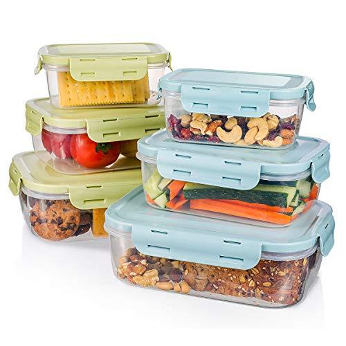 Baban Boite Alimentaire Plastique Bacs Conteneurs Empilables avec Couvercles Hermétiques Lot de 6 pièces, Boite Conservation sans BPA Livré avec 10 Crochets en Acier Inoxydable