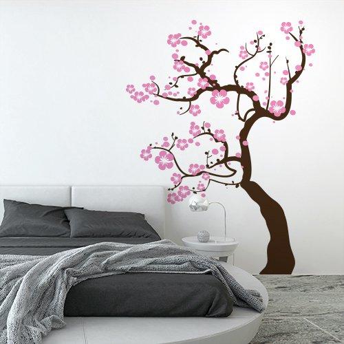 wall art 01125-02 Adesivo murale Alberi - Ciliegio Fiorito - Marrone e Rosa - Misure 126x170 cm - Decorazione Parete, Adesivi per Muro, Carta da Parati