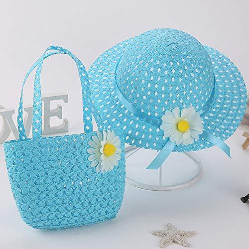 Nuevo Conjunto de Sombreros de Playa para niños de Verano, Sombrero Ancho de Paja Amarilla de ala Ancha, de 3 a 7 años, Bolsas de Playa Rosa para Viajes de Vacaciones para niños-13-Suit