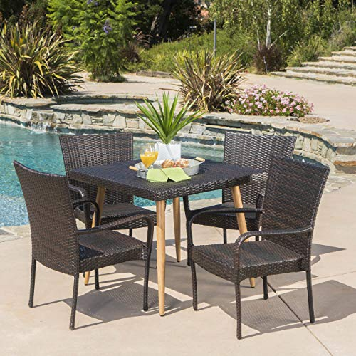 UKN Outdoor 5-Piece Square Dining Set Brown Modern Contemporary Iron Wicker Weather Resistant