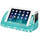 LapGear Designer Tablet Pillow Stand with Phone Pocket - Aqua Trellis - Fits Most Tablet Devices - Style No. 35512
