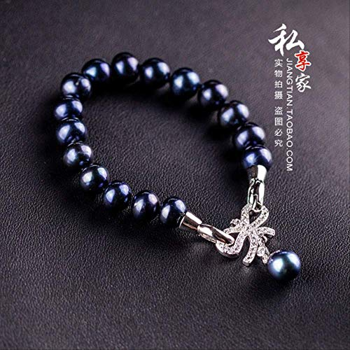 Haespsd Conjunto de Pulsera de Collar de Perlas Naturales, Pulsera de Cadena de clavícula, joyería Hecha a Mano, 18 cm