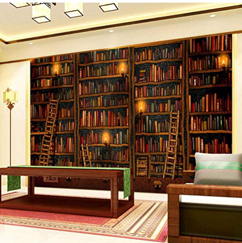 Glasvezel muurschildering 3D behang klassieke boekenplank olieverfschilderij foto muurschildering bibliotheek woonkamer achtergrond muur huisdecoratie behang 3D 120x100cm