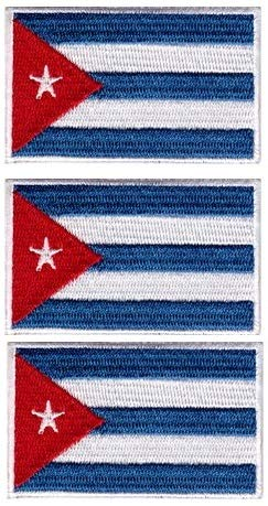 Tanto Badges Pack van 3 x Vlag van Cuba Socialist Maxist Geborduurd naaien op Iron on Patch Elke 65mm x 40mm