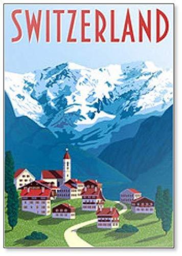 Calamita da frigo con illustrazione di disegno svizzero.