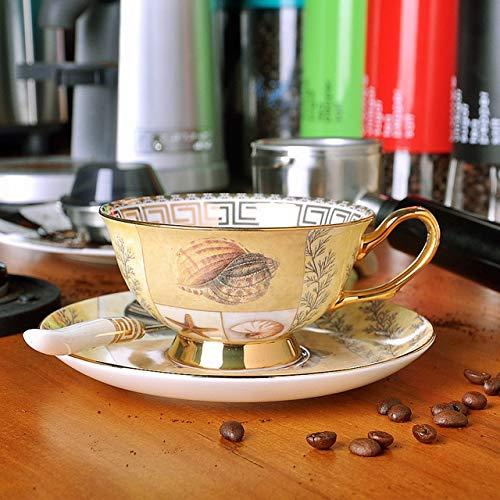 Zodensot Estilo europeo restauración de porcelana antigua taza de café platos trajes de cerámica británica Phnom Penh Tazas de té de la tarde tazas de café (220 ml, B)
