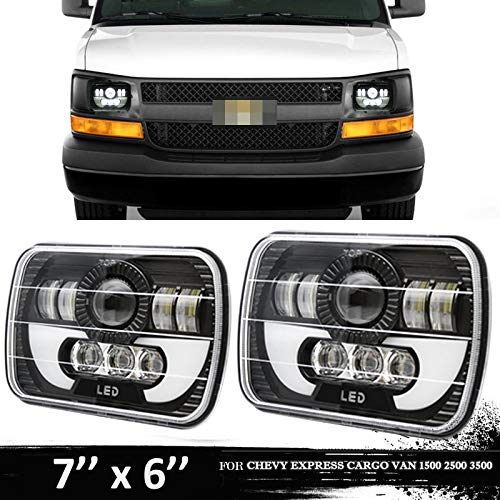 Fits for Chevy Express Cargo Van 1500 2500 3500 Van Ford F550 F450 LED Headlight, 7x6 or 5x7 Inch Headlamp Projector Replacement Kit High/Low Sealed Beam w/DRL Super Bright 12000lm, H6054 H6014 H5054