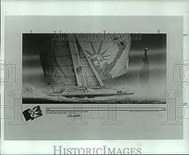 1986 Press Photo Artist's sketch of Catamaran Liberte sailing in New York