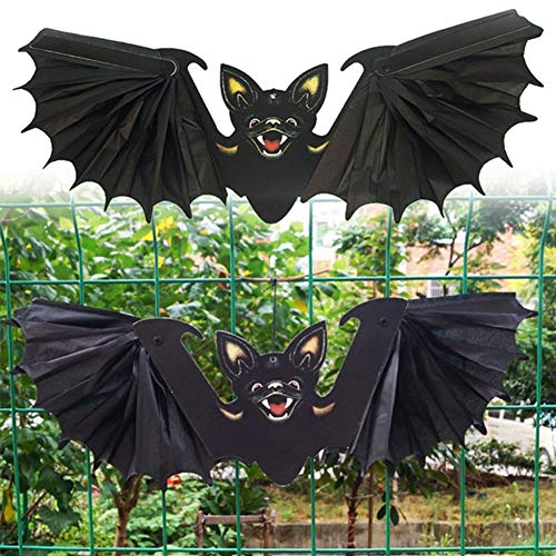 litty089 Party Bar Requisiten, Double Side Faltbare Schwarze Fledermaus Hängen Laterne Ornament, Dekoration Für Halloween Schwarz