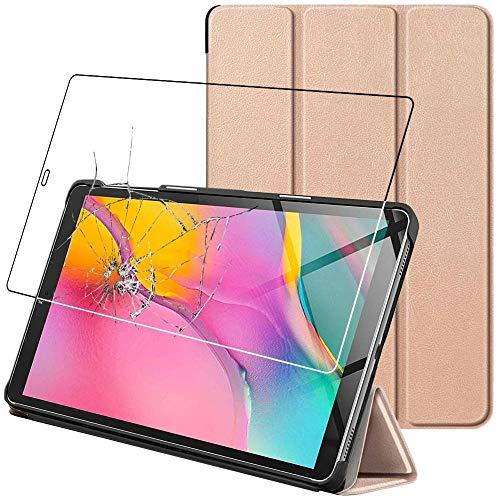 ebestStar - kompatibel mit Samsung Galaxy Tab A 10.1 Hülle 2019 T515 Schlank SmartCover [Ultra Dünn] Schutzhülle Etui Ständer Hülle Cover, Gold + Panzerglas Schutzfolie [Tab: 245x149x7.5mm, 10.1'']