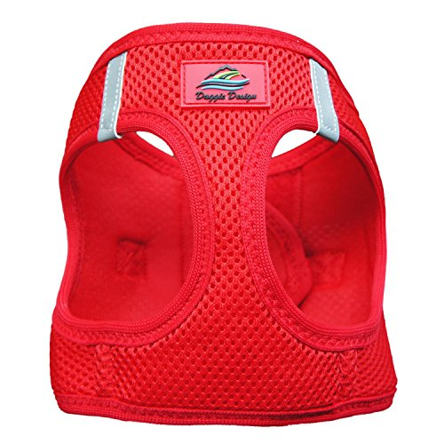 DOGGIE DESIGN American River Ultra Choke-Free Mesh Dog Harness Red (Medium)