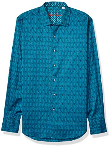 Robert Graham Men's Atlas L/S Woven Shirt, Teal, X-LargeARGE