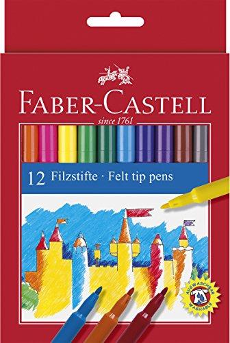 Faber Castell 554212 - Estuche de cartón con 12 rotuladores escolares, punta de fibra, multicolor