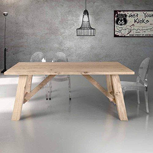 InHouse srls Table en Bois plaqué chêne de 4 cm d'épisseur. Dimensions cm. 250X100 Fixe.