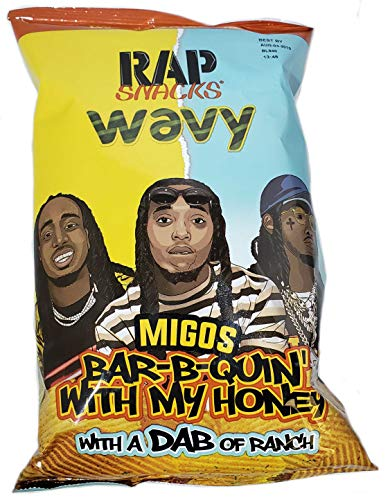 Rap Snacks Potato Chips 2.75 oz Bags (Migos Bar-B-Quin' with my Honey with a Dab of Ranch, 1 Pack)