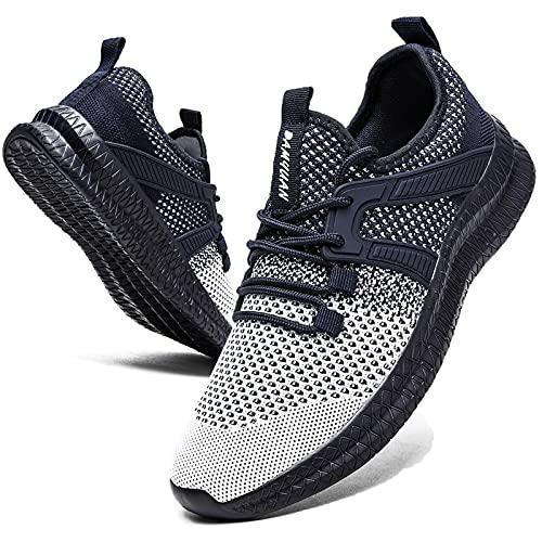 Zapatillas deportivas para hombre, zapatillas de correr, zapatillas de deporte, ligeras, zapatillas de tenis, para correr, hacer ejercicio, caminar, correr, etc., color Azul, talla 42 EU
