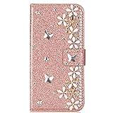 Blllue Funda tipo cartera compatible con Xiaomi Redmi Note 8 Pro, Glitter Bling Lucky Flower Diamond Pu Funda de cuero Flip Phone Cover para Redmi Note 8 Pro - Rosegold