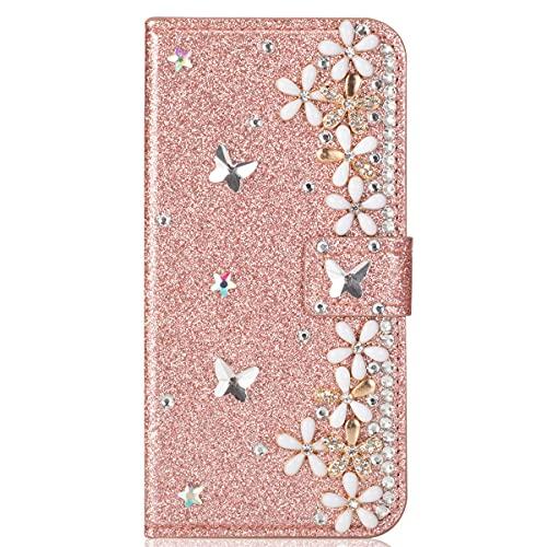 Blllue Funda tipo cartera compatible con iPhone XS Max, Bling Glitter Lucky Flower Diamond Pu Cuero Flip Phone Cover para iPhone XS Max - Rosegold