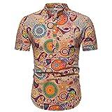 Camisas Formales de los Hombres, Camisa de popelín de Manga Corta de Ajuste Delgado, colocación de Moda,Naranja,XL