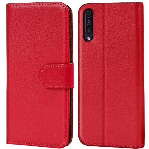 Verco Galaxy A50 Hülle, Samsung A30s Hülle Handyhülle für Samsung Galaxy A50 Tasche PU Leder Flip Hülle Brieftasche - Rot