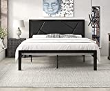 SHA CERLIN Modern Queen Size Metal Bed Frame with Geometric Litchi Grain Leather Headboard, Platform Bed with 12' Underbed Storage Space, Metal Slat Support, Noise Free, No Box Spring Needed, Black
