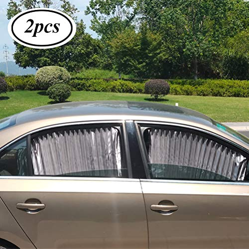 ZATOOTO Car Side Window Sun Shade - Silver (2 Pcs) Magnetic Privacy Baby Sunshades Curtain Keeps Cooler Screen for Sleeping