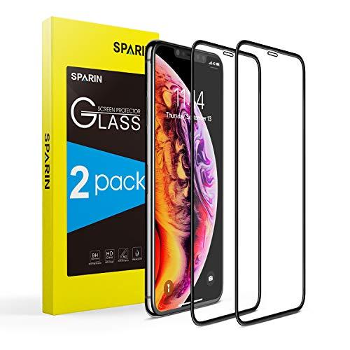 SPARIN [2-Pack] Protector Pantalla iPhone 11 Pro/XS/X, Cristal Templado iPhone 11 Pro/XS/X, [Cristal + Resina] Vidrio Templado con [3D Borde Redondo] [9H Dureza] [Alta Definicion]