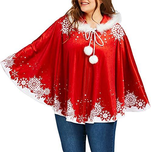 Womens Kerstmis Bijpassende Kaap Jas Set Dames Katoen Hooded Sneeuwvlok Gedrukt Mantel Vrolijke Kerst Top Meisjes Feestelijke Kerstmis Loungewear Kleding Party Carnaval