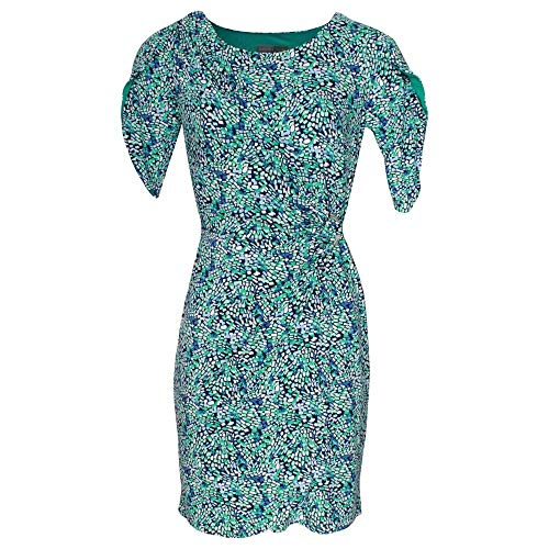 Michaela Louisa Green Short Sleeve Printed Wrap Dress 14 Green Multi