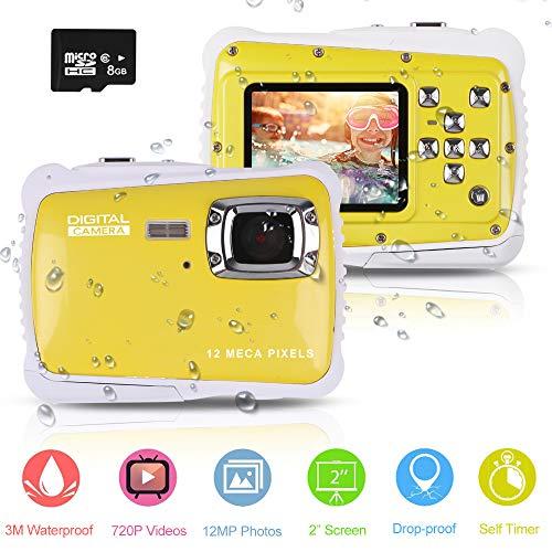 Wasserdichte Kamera für Kinder (bis 3 Meter) , Unterwasser Kinderkamera Camcorder HD720p 12MP Digital Sportkamera mit 8 GB Speicherkarte, 2.0 '' LCD-Bildschirm, 8X Digital zoom, Flash Mic (Gelb)