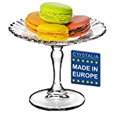 Crystalia Glass Small Patisserie Service Platter, Small Footed Round Cake Cupcake Stand for Cookies, Single Cupcakes, Pastries, Macarons, Biscuits, Glass Cake Pedestals Server Plate 5 inches