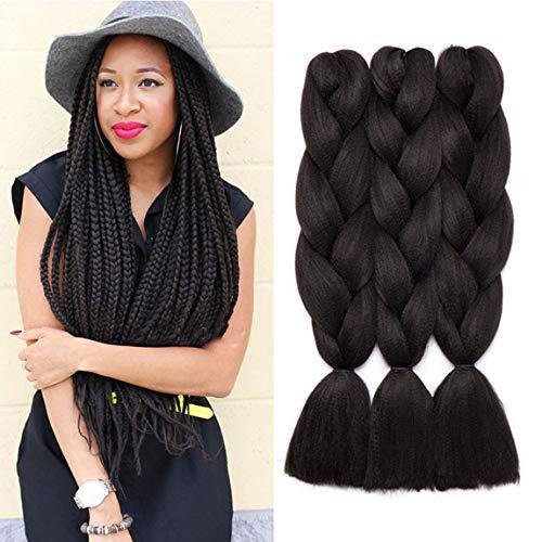 3pcs/300g 24inch Synthetic Ombre Jumbo Braiding Hair Extensions African Box Braids Crochet Twist Braided Hair Extension Dark Black