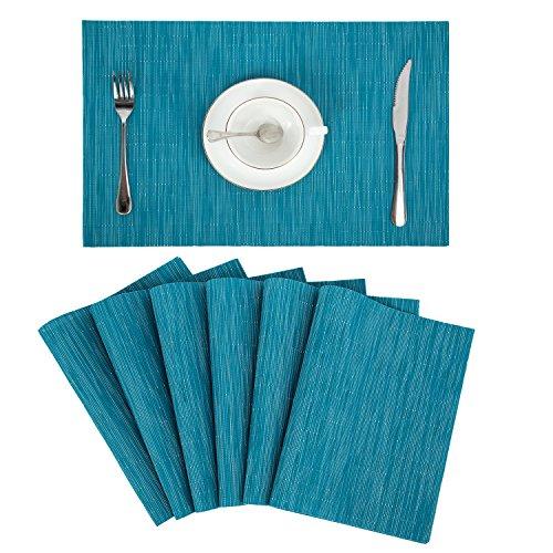Pauwer Placemats Set of 6 Crossweave Woven Vinyl Placemats for Kitchen Table Heat Resistant Non-Slip Kitchen Table Mats Easy to Clean (6pcs Placemats, Blue)