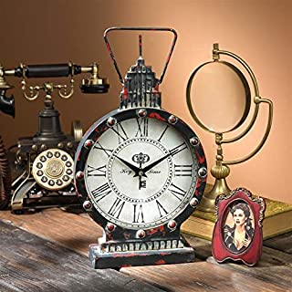 Design Toscano Gotham Steampunk Metal Table Clock, Antique Black