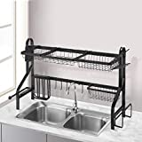 Bextsrack Over the Sink Dish Drying Rack, Stainless Steel Adjustable Dish Drainer Shelf Multifunctional Kitchen Storage Organizer with Utensil Holder Hooks for Kitchen Counter
