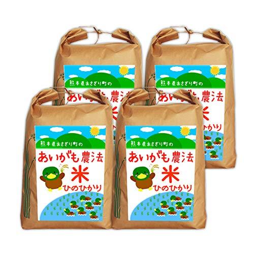 【送料無料】令和2年産 合鴨農法米ヒノヒカリ 玄米:20kg(5kg×4袋)【栽培期間中農薬不使用】【アイガモ】【熊本県産】