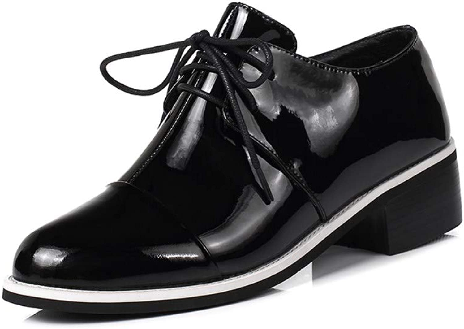 Nine Seven Patent Leather Women's Round Toe Chunky Low Heel Lace up Handmade Comfort Dress Pump shoes