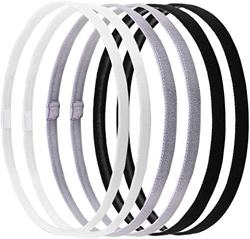 FLZONE Elastic Sport Stirnbänder,6 Stück Elastic Stretchable rutschfeste Stirnbänder für Frauen Sport Yoga,Fußball,Tennis,Workouts (Schwarz,Grau)