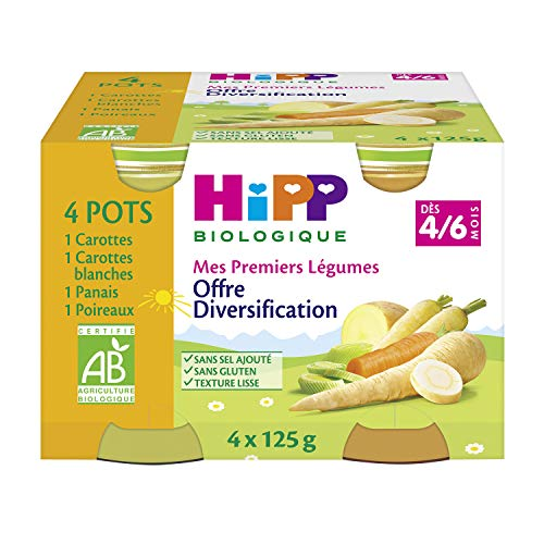 Hipp Biologique mes Premiers Légumes Carottes Blanches/Carottes/Panais/Poireaux Dès 4/6 Mois 4 Pots de 125 g