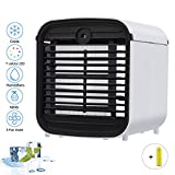 Personal Air Cooler, Portable Mini Air Conditioner, 3 in 1 Evaporative Coolers, Humidifier, Purifier with USB, 7 Colors LED Night, 3 Speeds Desktop Cooling Fan for Office, Home, Dorm, Travel