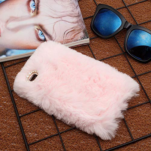 Sycode Fourrure Coque pour Huawei P9,Hiver Chaud Fluffy Coque pour Huawei P9,Peluche Lapin Silicone Doux Peluche Laine Étui Housse pour Huawei P9-Rose