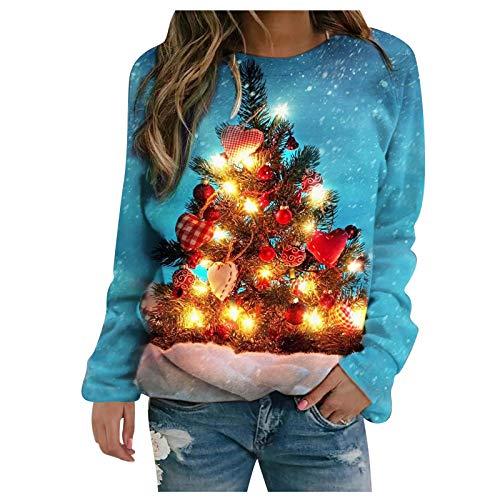 FYBOC Sweats à Capuche Femme, Pull De NoëL Lumineux Drole Sweat Shirt,Femme Sweat à Capuche Sweet Sweatshirt 3D Impression d'arbre De NoëL Couple Hoodie Oversize