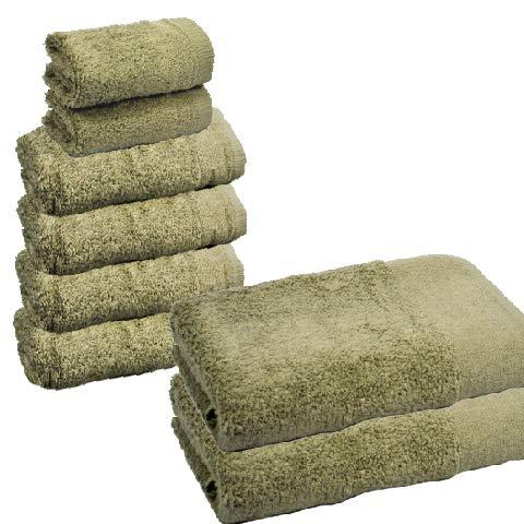 Atrivm Toallas hogar 100% algodn, ms Suaves y absorbentes, esponjosas, te secan y se secan ms rpidamente. Mejor relacin Calidad-Precio (2 tocador + 4 Lavabo + 2 bao, Piedra)