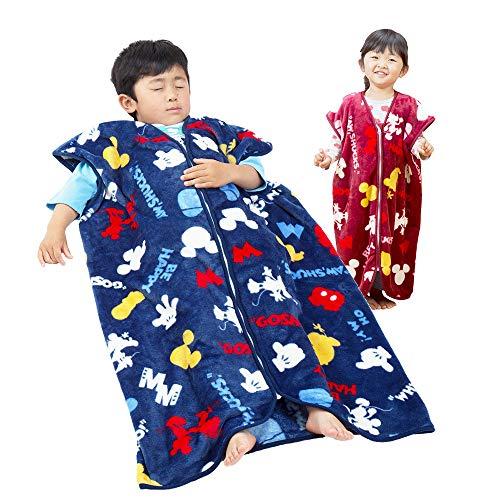 Disney ディズニー 契約商品 あったか スリーパー マイクロファイバー毛布で製造 暖かスリーパー 子供用 50×70cm ネイビー