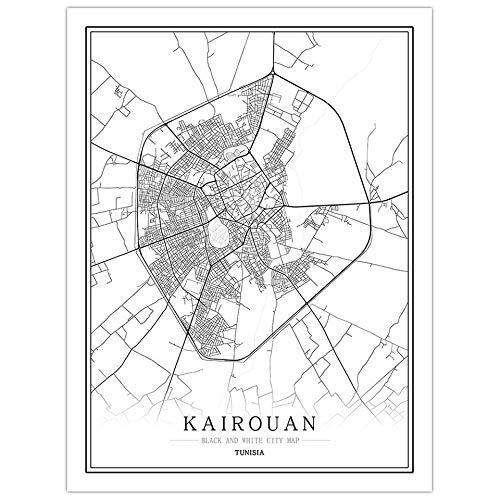 pgjremd Túnez Creativo Mapa De La Ciudad En Blanco Y Negro Arte De La Capital Póster Arte De La Pared Sin Marco50X60Cm C1318