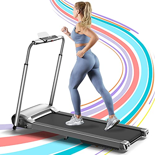 OVICX Portable Foldable Treadmill for Home with Photoelectric Heart-Rate Detection Running Machine with Bluetooth Small Treadmill for Apartment Gray