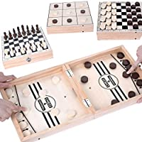 EUASOO Portable Travel Folding 4-in-1 Large 20.5x10.5 in Board Games