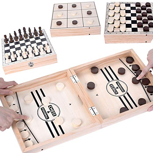 Fast Sling Puck Game,Chess Checkers Tic Tac Toe Games 4-in-1 Large 20.5x10.5 in Board Games Portable Travel Folding Tabletop Chess Adults Parent-Child Interactive Family Party Table Game