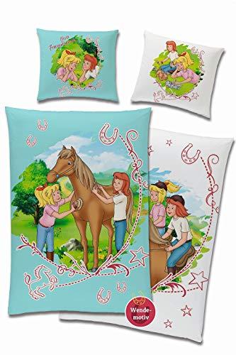 Bibi und Tina Wende Bettwäsche-Set Beste Freundinnen 135 x 200 80 x 80cm, 100% Baumwolle in Linon Qualität Türkis-Blau Weiss