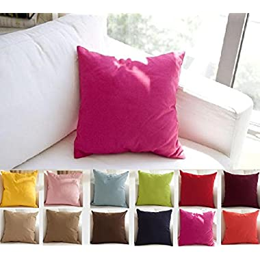 TangDepot Cotton Solid Throw Pillow Covers, 26  x 26  , Brilliant Rose